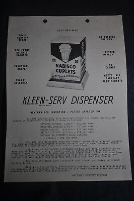NABISCO Cuplets Kleen Serv Dispenser Brochure