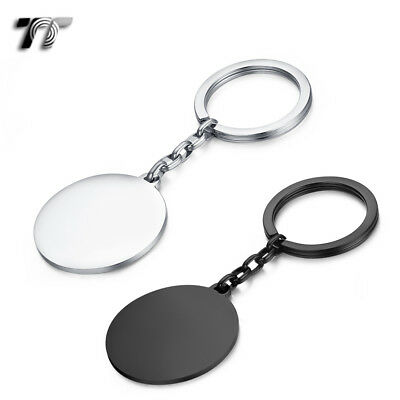 TT 316L Polished Stainless Steel Round Dog Tag Key Ring Engravable (KR10) NEW