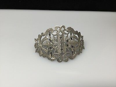 Antique English Sterling Silver (.925) Belt Buckle (circa 1902) Hand Engraved!