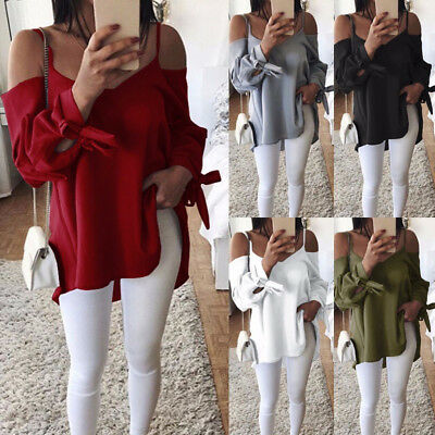 Women Casual Sexy Off Shoulder Long Sleeve Blouse Loose T-Shirt Tank Tunic Tops