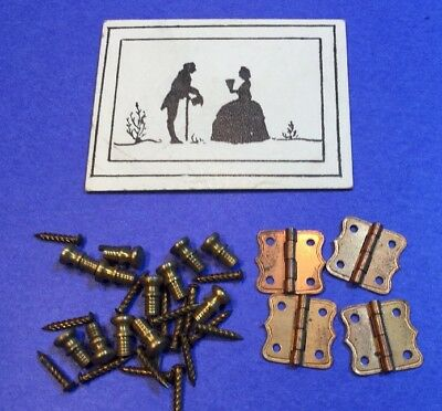 authentic vintage Tynietoy furniture parts brass pulls, copper hinges with nails