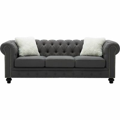 BEST QUALITY FURNITURE Grey Chesterfield Sofa With Accent ...