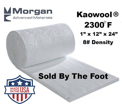 "Ceramic Fiber Blanket 2300F 8# Thermal High Temp Insulation 1""x12""x24"" USA Made"