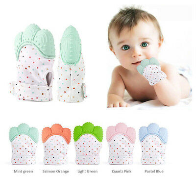 Baby Silicone Mitts Teething Mitten Glove Candy Wrapper Sound Teether Toy Safe