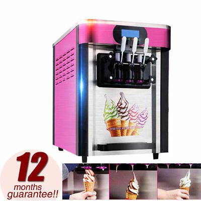 【USA】110V 3 Flavor Pink Commercial Frozen Soft Ice Cream Yogurt Cone Machine