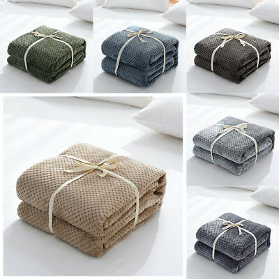 Winter Soft Warm Flannel Fleece Blanket Carpet Throw Sofa Bed Bedding Bedroom AU