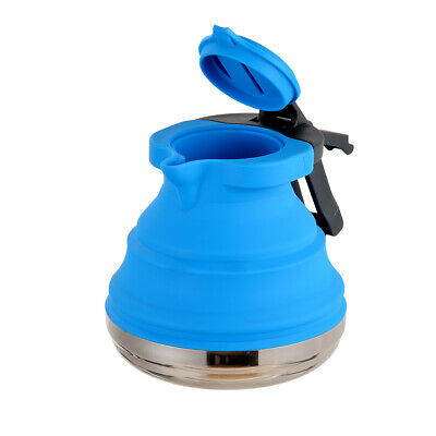 Blue 1.2L Collapsible Kettle Travel Camping Fishing Folding Gas Stove Pot AU