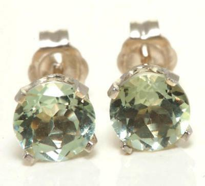 1.46ct Genuine Green Amethyst 14K Solid White Gold Studs Earrings FREE SHIPPING