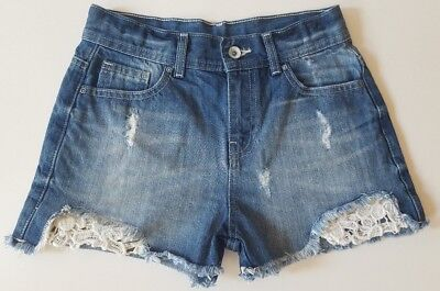 Girls Matalan Blue Denim Distressed Cream Crochet Detail Shorts Childrens Age 11