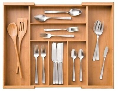 7 Compartment Expandable Bamboo Flatware Utensil Cutlery Drawer Tray Organizer
