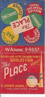 The Place Greenwich Village NYC NY 91 7th Ave. World's Fair Art Matchcover