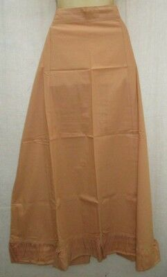 Biscuit Pure Cotton Frill Petticoat Skirts Sari XL Plussize history Gifts #96Z58