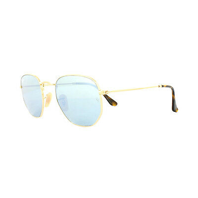 7f3ebf6251 RAY-BAN SUNGLASSES HEXAGONAL 3548N 001 30 Gold Silver Mirror 54mm ...