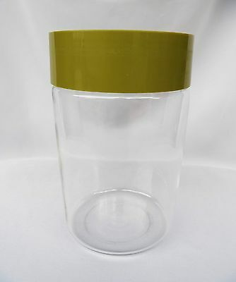 """VTG 1970'S PYREX GLASS CANISTER with AVOCADO GREEN PLASTIC LID 7 1/2"""" USA"""