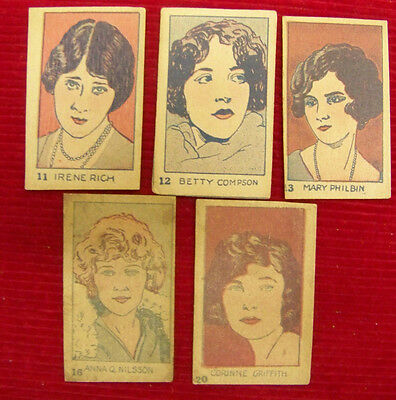 Lot of 5 Vintage Silent Movie Star Trading Cards