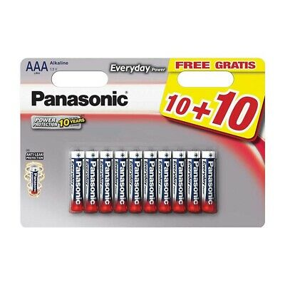 20x AAA LR03 Panasonic Everyday Alkaline Power Batteries - 10+10 Free Pack
