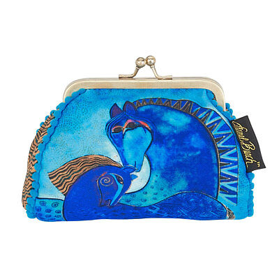 New LAUREL BURCH Coin Bag HORSE PONY ART Case Purse Pouch FLORAL Kisslock Blue