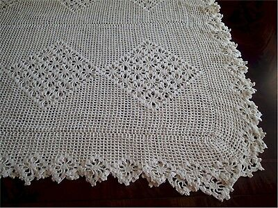 Lovely Vintage Hand Crocheted Lace Coverlet 100 x 108