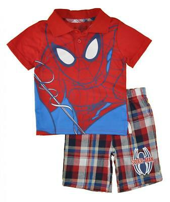 Spider-Man Toddler Boys Character Polo Two-Piece Short Set Size 2T 3T 4T