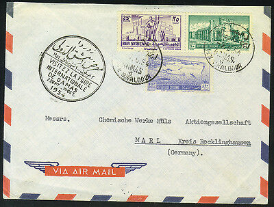 Syria 1954 Ibn Khaloun Damas Branch Office To Germany W/exposition Seal