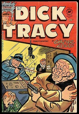 Dick Tracy (1950) #65 1st Print Harvey Comics Bloody Violent Wormy Cover Fine