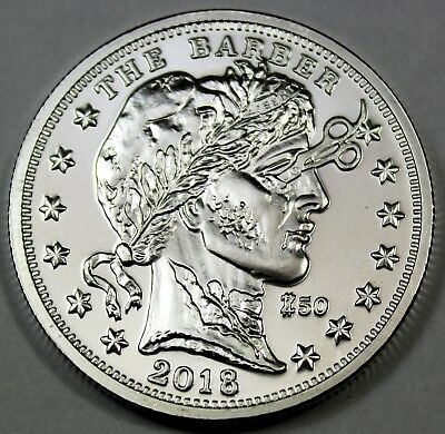 """2018 The Barber Zombucks """"Currency of the Apocalypse"""" 1 oz Fine Silver Round"""