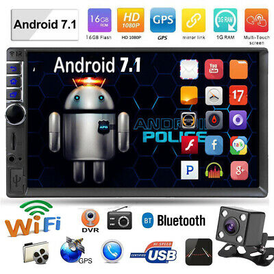 """7"""" 2 DIN Android 7.1 Bluetooth Car Stereo Radio MP5 Player GPS WiFi FM w/Camera"""