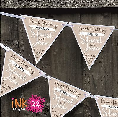 Personalised Pearl 30th Wedding Anniversary Party Decoration Banner Bunting