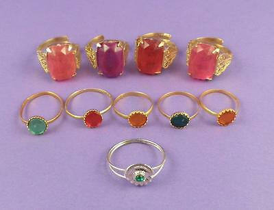 Selection of 10 Vintage c1960s Toy Rings - Old Unused Stock Lot C