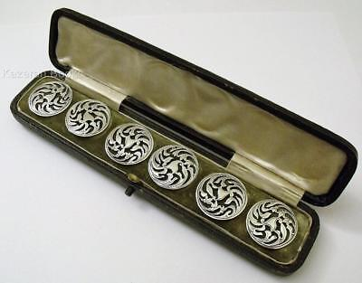 Antique Edwardian Set Of Six Solid Silver Floral Art Nouveau Buttons In Box 1906