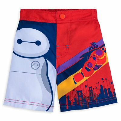 Disney Store Big Hero 6 Baymax Swim Trunks 50+ UV Protection Boys Size 3 5/6 New