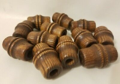 "Lot of 12 Large Walnut Wood Bamboo Look Macrame Plant Hanger Craft Beads 2"" 50mm"