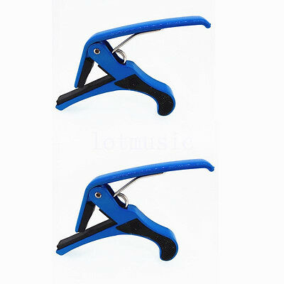 2Pcs Quick Change Clamp Key Capo for Acoustic Electric Classic Guitar Blue Metal