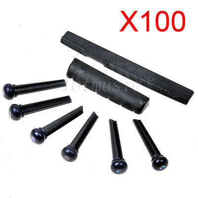 100 Sets Guitar Part 6 Strings Acoustic Guitar Bridge Pins Saddle Nut Black