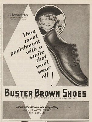 Buster Brown Shoe Company St Louis MO Vintage 1920s Girls Shoes Tige Ad