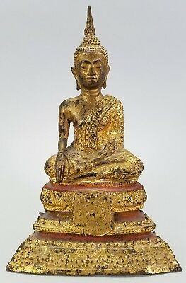 Antique 19Th Century Thailand Sukhothai Gilt Bronze Buddha Figure Statue