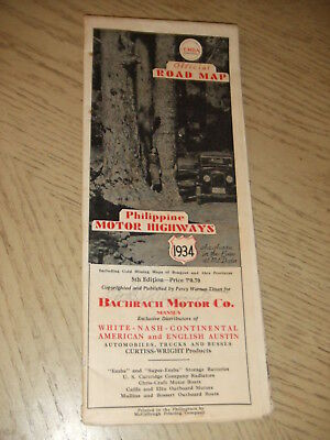RARE 1934 OFFICIAL Philippiines Highway Road Map EMBA Texaco Ford Mineral Lands