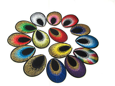 New 100pcs Peacock eye Embroidered Applique Iron On Sew On Patch Mixed Color