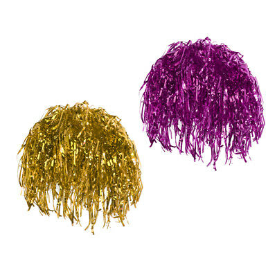 2pcs Tinsel Wig Rose Gold Shiny Metallic Foil 80s 90s Fancy Dress Wigs Props