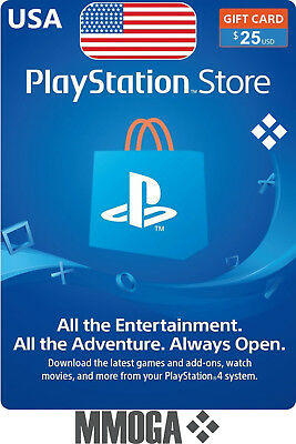 $25 USD PlayStation Network Store Card - PSN 25 US Dollar Prepaid Code - USA