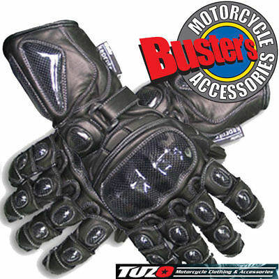 Tuzo TZG10 Black Leather Motorcycle Glove Small