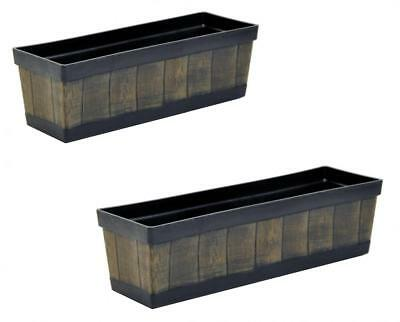 Wooden Effect Plastic Tub Plant Flower Herb Planter Pot Window Box Container