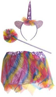 Unicorn Rainbow Girls Costume Tutu Party Fancy Dress Up & Wand & Headband Horn
