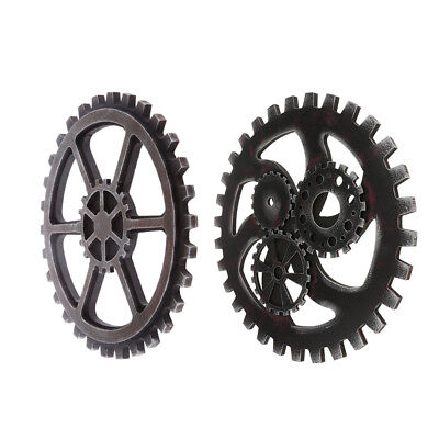 2Pcs Retro Industrial Style Wooden Gear Club Wall Hanging Decorative Black