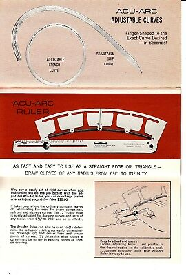 Acu-Arc Engineering Aids Rolatape Corporation Vtg Brochure Drawing Instruments