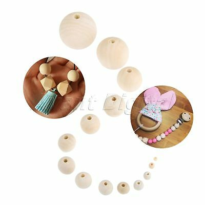 DIY Craft Jewelry 14 Size Round Spacer Beads Natural Unpainted Wooden Ball Beads