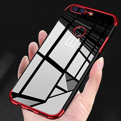 Ultra Thin Plating TPU Shiny Case Glossy Shockproof Clear Cover For OnePlus 6 5T