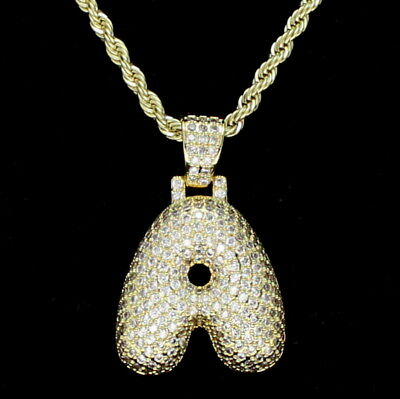 Bubble Letter A to Z Alphabet Cz Pendant 14k Gold Plated +Rope Chain  Hip Hop