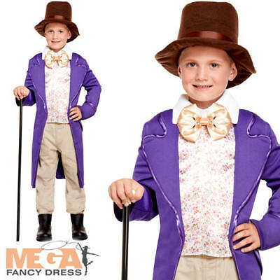 Willy Wonka Chocolate Factory World Book Day Kids Fancy Dress Boys Child Costume