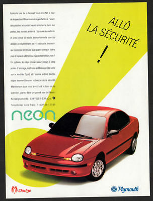 1995 DODGE PLYMOUTH Neon Vintage Original Print AD - Red car photo French Canada